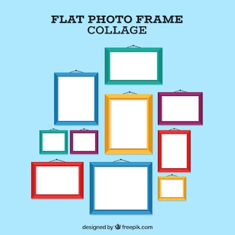Photo frame collage composition with flat design