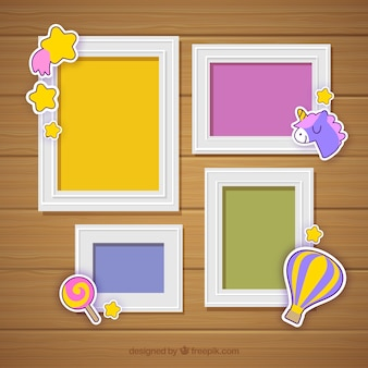 Photo frame collage with flat design