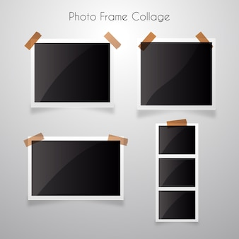 Photo frame collage with realistic style