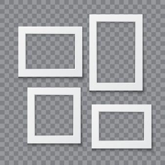 透明な背景で隔離のフォトフレームコレクションベクトルリアルなイラスト