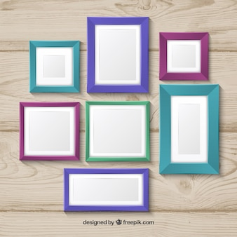 Photo frame colorful collage concept on wood background