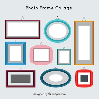 Photo frame colorful collage concept