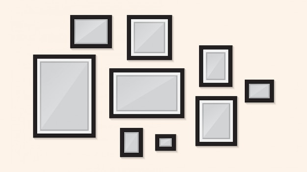 Photo frame design on wall  template Premium Vector