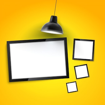 Photo frame gallery mockup. picture frame on yellow wall with hanging lamp.