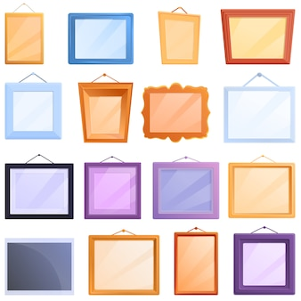 Photo frame icons set, cartoon style