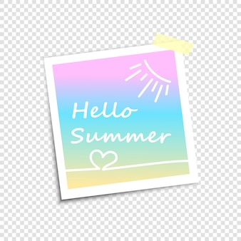 Photo frame, imitation polaroid photo.hello summer