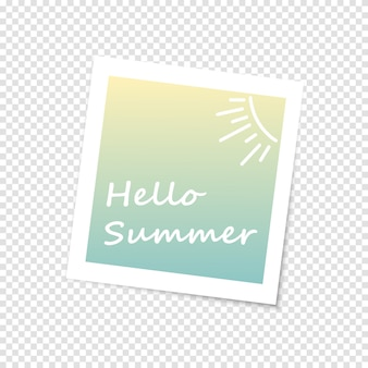 Photo frame, imitation polaroid photo.hello summer
