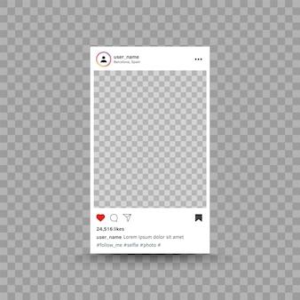 Фоторамка, вдохновленная шаблоном интерфейса поста в instagram, современный дизайн пользовательского интерфейса в социальных сетях, векторная фотография ...