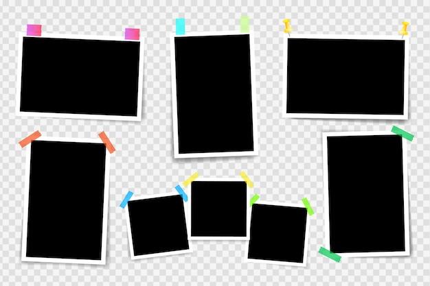 透明な背景に分離されたフォトフレーム。粘着テープ上のフレームフォトフレームのレイアウト。テンプレート写真デザイン。
