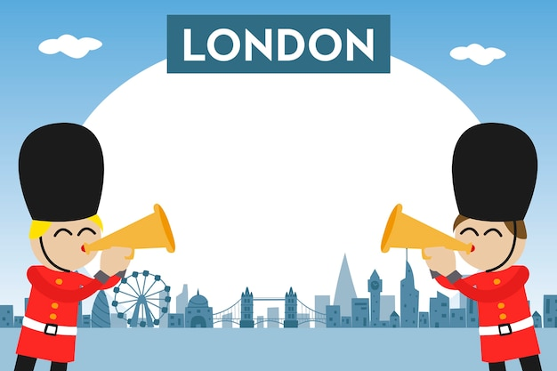 Photo frame for kids with london skyline and funny guards