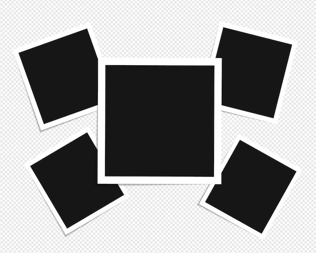 투명 배경에 고립 된 스티커 테이프에 사진 프레임 모형 디자인