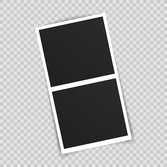 Photo frame mockup design. photo frame on sticky tape isolated on transparent background.