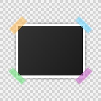 Photo frame mockup design. realistic photograph .  illustration.