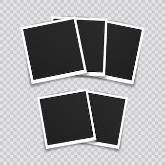 Photo frame mockup design. super set photo frame on sticky tape isolated on transparent background.