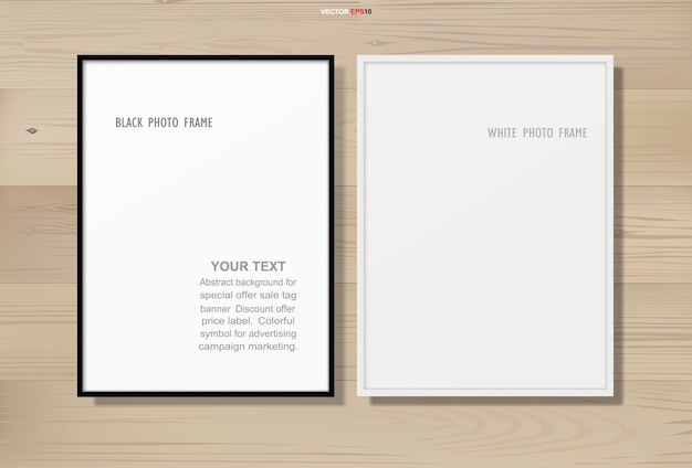 Photo frame or picture frame on wooden texture background