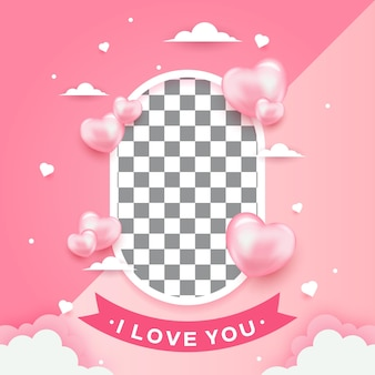 Photo frame for romantic moment with shape heart