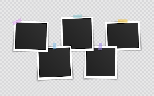 Photo frame  . super set photo frame on sticky tape isolated on transparent background. vector illustration.