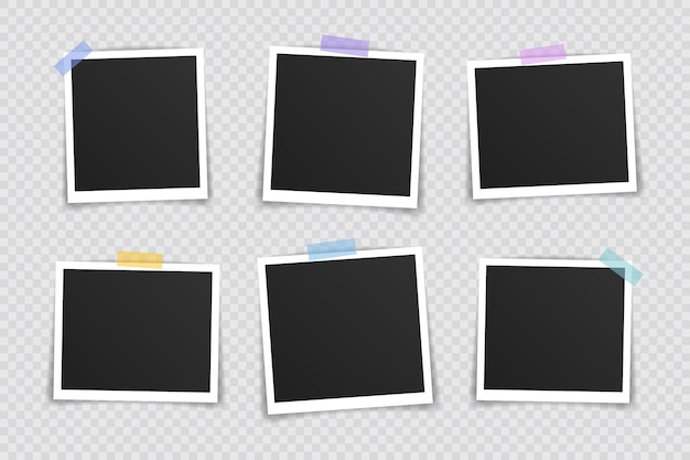 Photo frame  . super set photo frame on sticky tape  on transparent background. vector illustration.