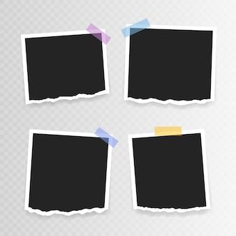 フォトフレーム 。透明な背景に粘着テープに破れた紙でスーパーセットフォトフレーム。ベクトルイラスト。