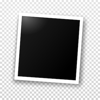 Photo frame template for editing. vector realistic illustration of empty photo with a shadow isolated on transparent grey checkered background.
