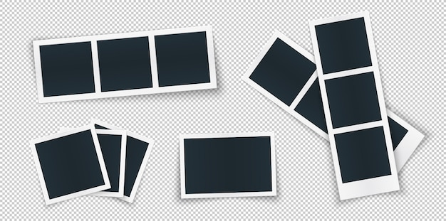 Photo frame template set different shapes and shadow.