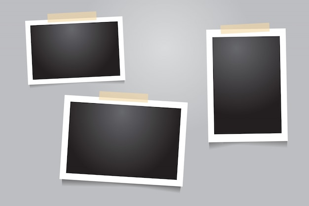 Photo frame template with adhesive tape, sticky tape