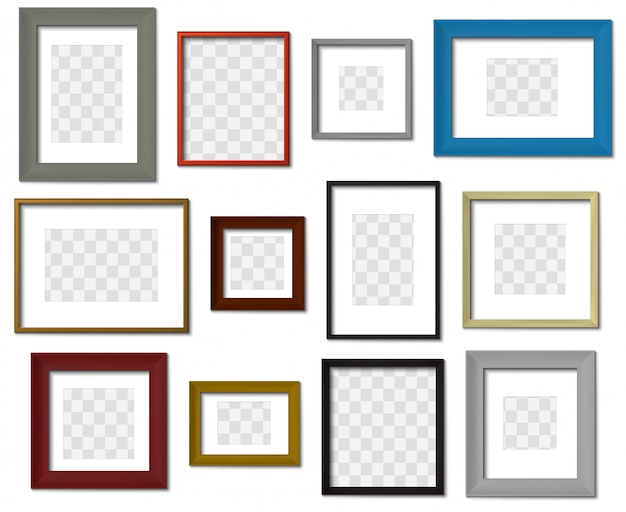 사진 프레임. 벽 그림 다른 색상 프레임, 현실적인 그림자 설정 현대 사각형 테두리. 투명한 배경에서 최소한의 인테리어 액자 모형. 사진 테두리