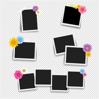 Photo frame with flowers big set with transparent background