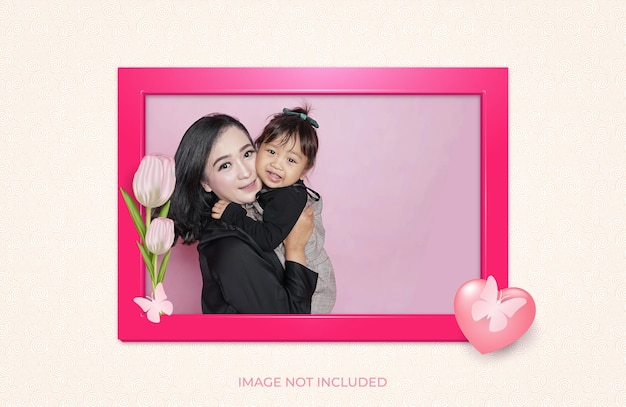 Photo frame with a pink theme there are flowers butterflies and hearts