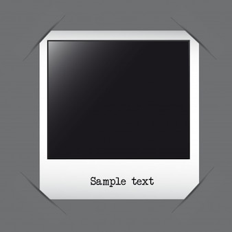 Photo frame with sample text over gray background vector