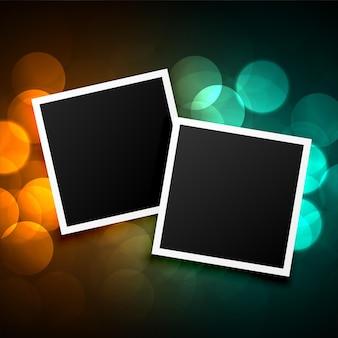 Photo frames on beautiful bokeh