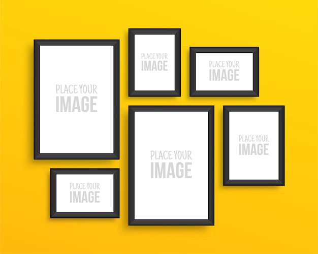 Photo frames collection on yellow wall