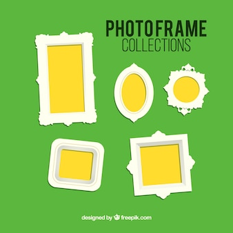 Photo frames on a green background
