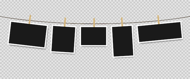 Photo frames hanging on rope isolated. vector illustration eps 10