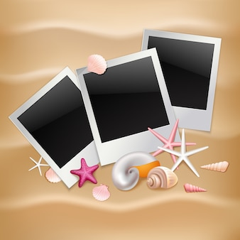 Photo frames instant picture black cards on summer beach background .