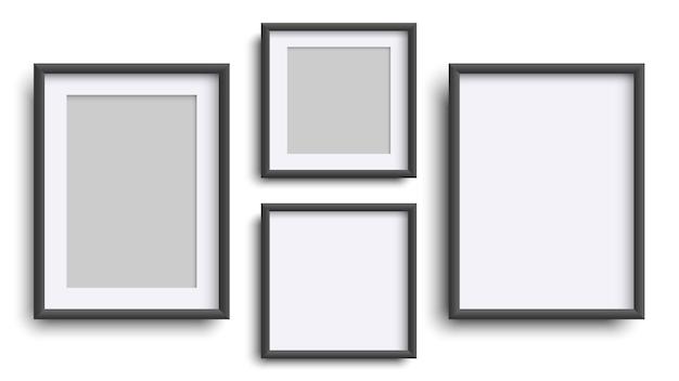 白で隔離されたフォトフレーム、リアルな正方形の黒いフレームのモックアップ、ベクトルセット。あなたのデザインのための空のフレーミング。写真、絵画、ポスター、レタリングまたはフォトギャラリーのベクトルテンプレート