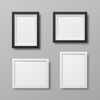 白で隔離の写真フレーム現実的な正方形の黒いフレームベクトルセット