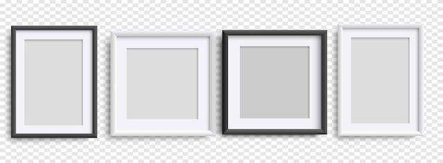 사진 프레임 절연, 현실적인 정사각형 흑백 프레임 모형, 벡터 세트. 디자인을 위한 빈 프레임입니다. 그림, 그림, 포스터, 글자 또는 사진 갤러리를 위한 벡터 템플릿