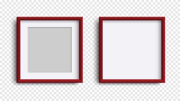 Photo frames isolated, realistic square dark red frames