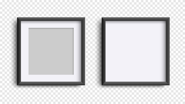 Photo frames isolated on white, realistic square black frames mockup, vector set