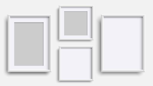 Photo frames isolated on white, realistic square white frames set.