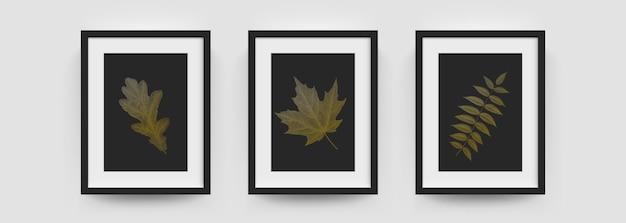 フォトフレームのモックアップ、壁の写真やポスターは、モダンな白と黒のボックスをベクトルします。葉の葉のある3d、垂直a4またはa4フォトフレームのフォトフレームモックアップ