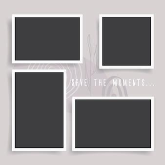 Photo frames set on color background. realistic retro empty photo frames. vintage style. mockup design templates. vector illustration.