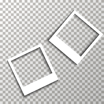Photo frames on the transparent background vector.
