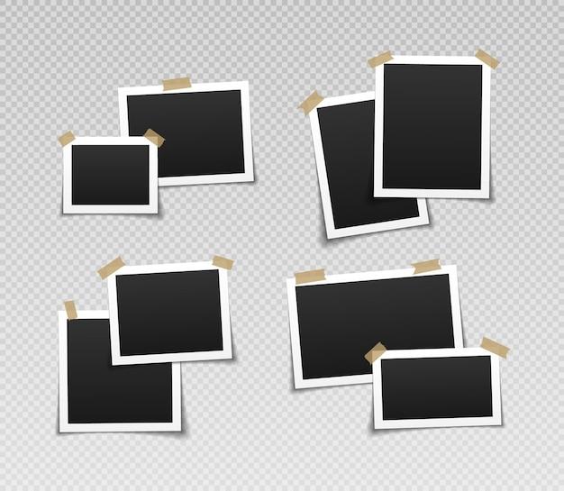 접착 테이프와 사진 프레임 접착 테이프와 빈티지 빈 사진 프레임