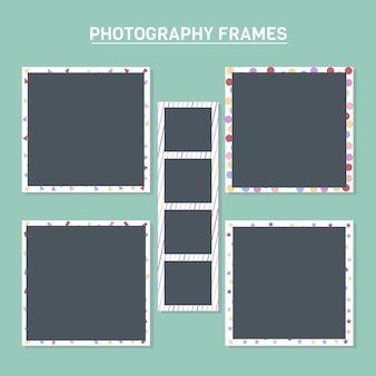 Photo frames with colorful backgrounds