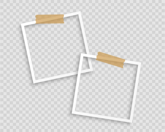 Photo frames with tape on transparent background