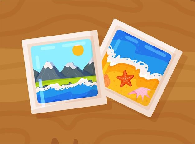 熱帯の海のビーチと山々のフォトフレーム