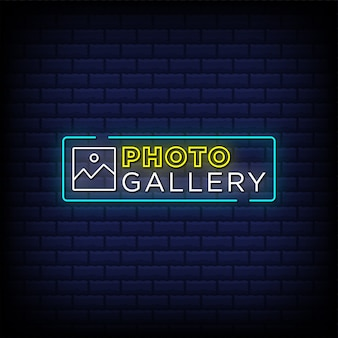 Photo gallery neon signs style text design