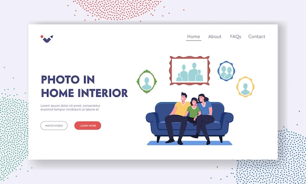 Photo in home interior landing page template. happy family sit on couch in living room with pictures hanging on wall. characters at home with portraits collection. cartoon people vector illustration